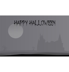 Silhouette halloween castle flat gray backgrounds vector