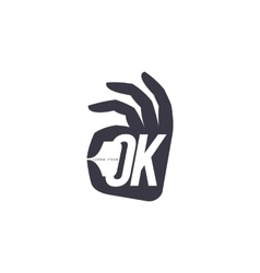 Stylized simplified hand showing OK sign logo vector image