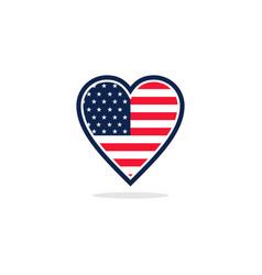 usa flag love logo vector image vector image