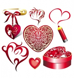 valentine set of elements vector image