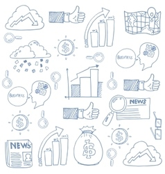 Doodle of element business icon set vector