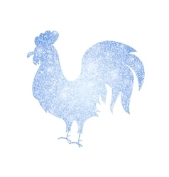 Frozen silver rooster silhouette vector