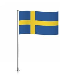 Flag of sweden waving on a metallic pole vector