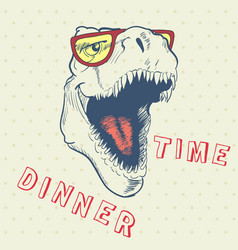 Dinner time of cool dinosaur vector