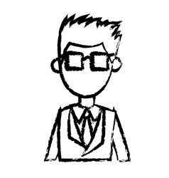 man with suit and glasses image sketch vector image