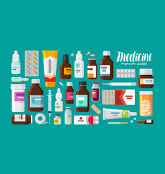 Medicine pharmacy hospital set of drugs with vector