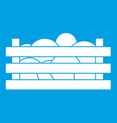 Watermelons in wooden crate icon white vector