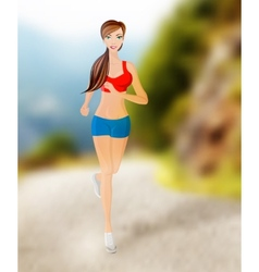Woman running outdoor vector