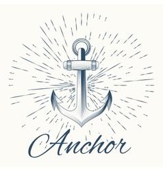 anchor and vintage sun burst frame vector image