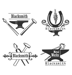 Set of vintage monochrome blacksmith labels and vector