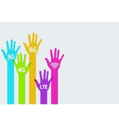 colorful hands mobile internet infographics vector image