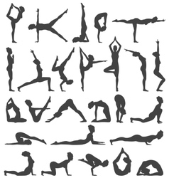 Yoga poses collection set black icons isolated on vector
