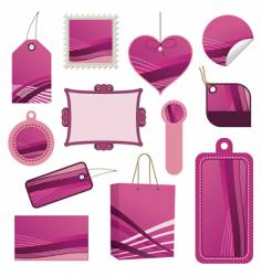 pink tag set vector image