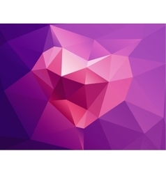 Polygonal horizontal background with heart vector
