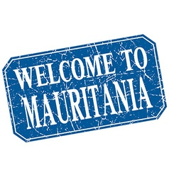 Welcome to mauritania blue square grunge stamp vector