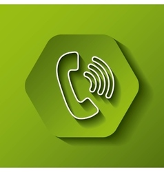 Phone icon communication design over hexagon vector