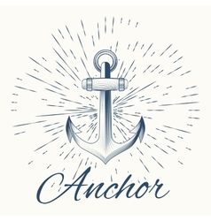 anchor and vintage sun burst frame vector image