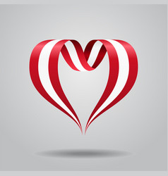 Austrian flag heart-shaped ribbon vector