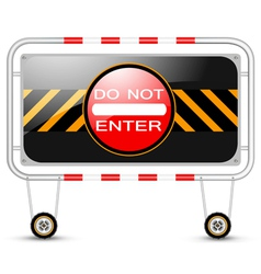 Barrier with traffic sign vector image vector image