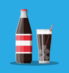 Bottle and glass with cola and striped straw vector