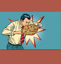 businessman bites pizza vector image
