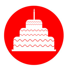 Cake with candle sign white icon in red vector