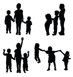 Children holding hands silhouette vector