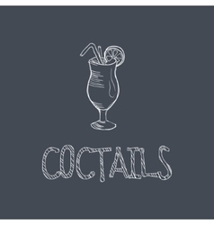 Cocktail sketch style chalk on blackboard menu vector