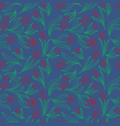color seamless floral pattern with tulips vector image vector image