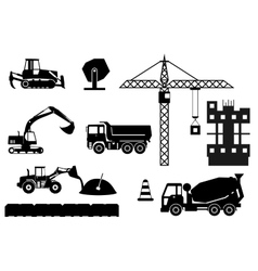 Construction site building a house - flat vector image
