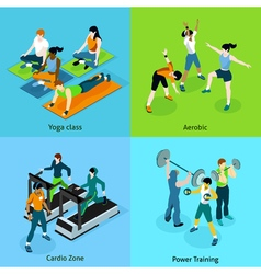 Fitness aerobic isometric icons set vector