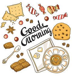 Good morning card Breakfast menu design set with vector image