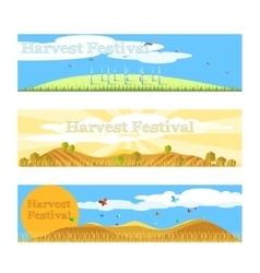Harvest festival banners set vector image