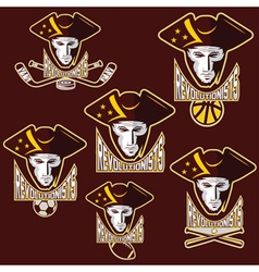 revolutionists soldiers sport teams labels set vector image