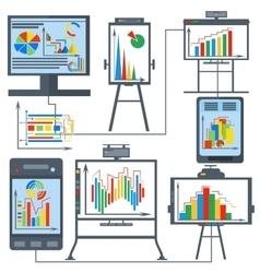 Set charts gadget computer phone vector image
