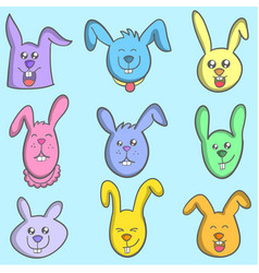 Set of bunny colorful art vector