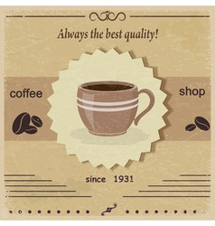 Vintage label coffee shop eps10 vector image