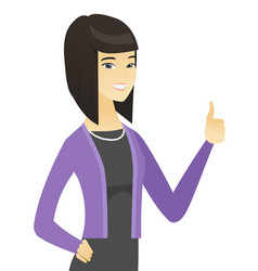 Young asian business woman giving thumb up vector