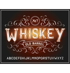 vintage label font Whiskey label style vector image