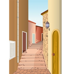 House colony with staircase passage vector