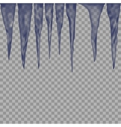 Hanging translucent icicles in blue colors on vector image