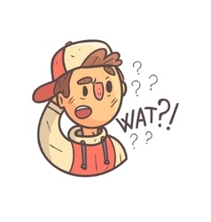 Confused Boy In Cap And College Jacket Hand Drawn vector image