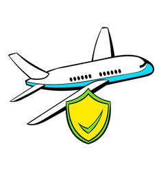 Aircraft insurance icon cartoon vector
