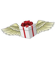 gift flying with feathered wings vector image