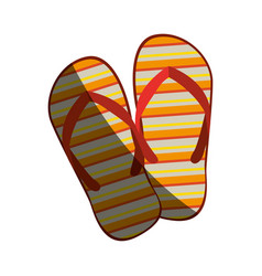 Colorful silhouette of beach flip-flops with half vector