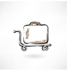 suitcase on wheels grunge icon vector image