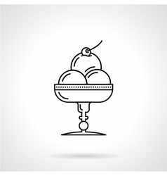 Ice cream dessert black line icon vector
