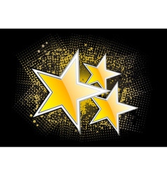 Gold stars on the black background vector