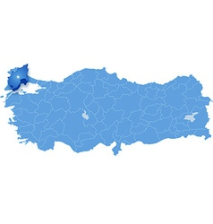 Map of turkey tekirdag vector