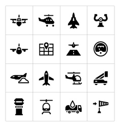 Set icons of aviation vector image